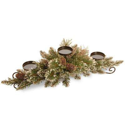 30 in. Glittery Bristle Pine Centerpiece and Candle Holder