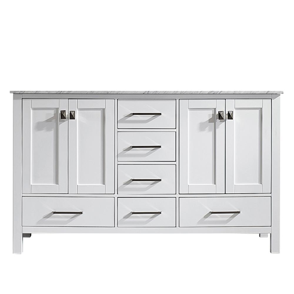 Gela 60 in. W x 22 in. D x 35 in. H Vanity in White with Marble Vanity Top in White with White Basin