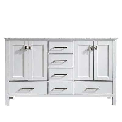 Gela 60 in. W x 22 in. D x 35 in. H Vanity in White with Marble Vanity Top in White with White Basin