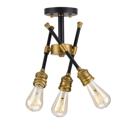 Landrum 16 in. 3-Light Black Semi-Flushmount with Vintage Brass Accents