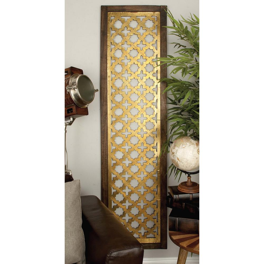 71 in. x 19 in. Modern Decorative Lattice-Patterned Wood and Iron