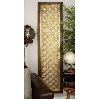 71 in. x 19 in. Modern Decorative Lattice-Patterned Wood and Iron Wall Panel in Gold Foil