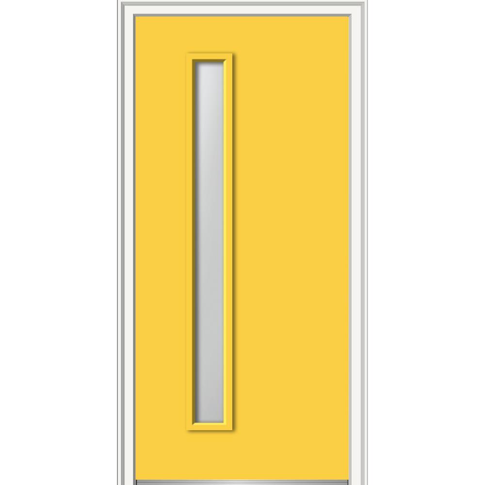 MMI Door 30 in. x 80 in. Viola Left-Hand Inswing 1-Lite Frosted Glass Painted Steel Prehung Front Door on 4-9/16 in. Frame