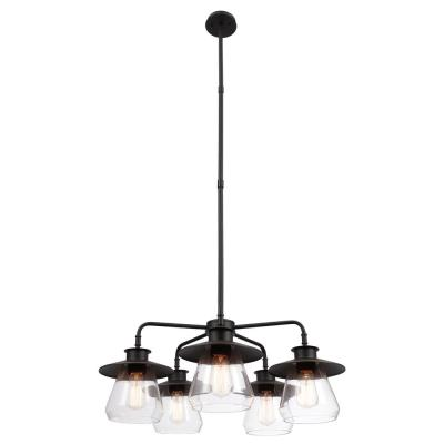 Nate 5-Light Oil Rubbed Bronze Chandelier with Clear Glass Shades