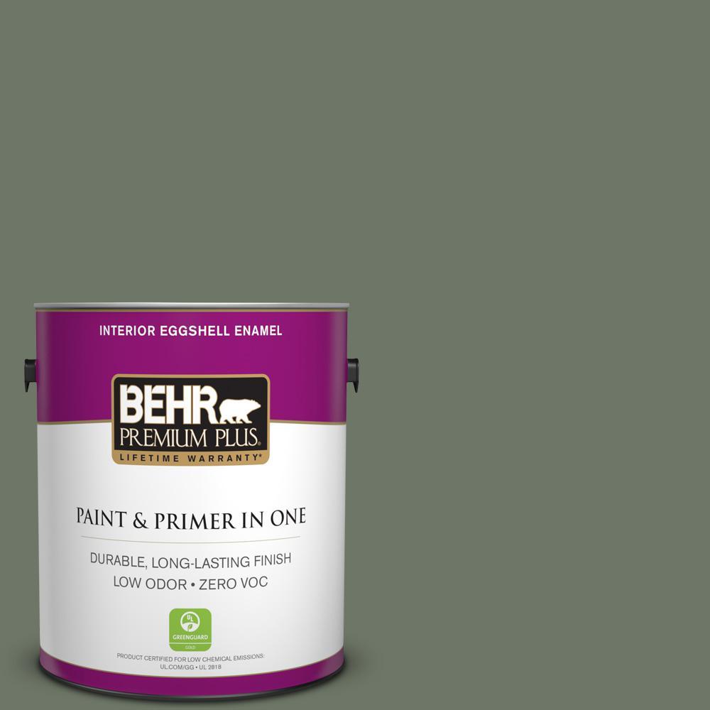 1 gal. #PPU10-19 Conifer Green Zero VOC Eggshell Enamel Interior Paint