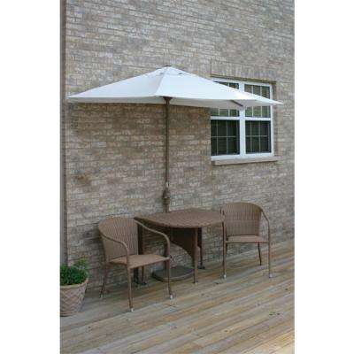 Terrace Mates Genevieve 5-Piece Coffee Patio Bistro Set with 7.5 ft. Natural Olefin Half-Umbrella