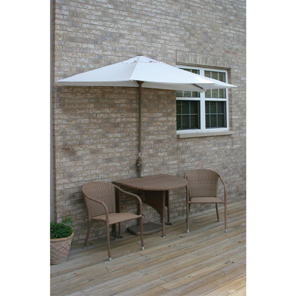 Blue Star Group Terrace Mates Genevieve 5-Piece Coffee Patio Bistro Set with 9 ft. Natural Sunbrella Half-Umbrella