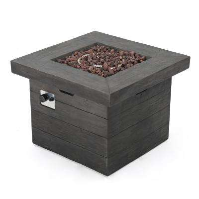 Dakota 32 in. x 24 in. Square Magnesium Oxide Gas Fire Pit in Gray