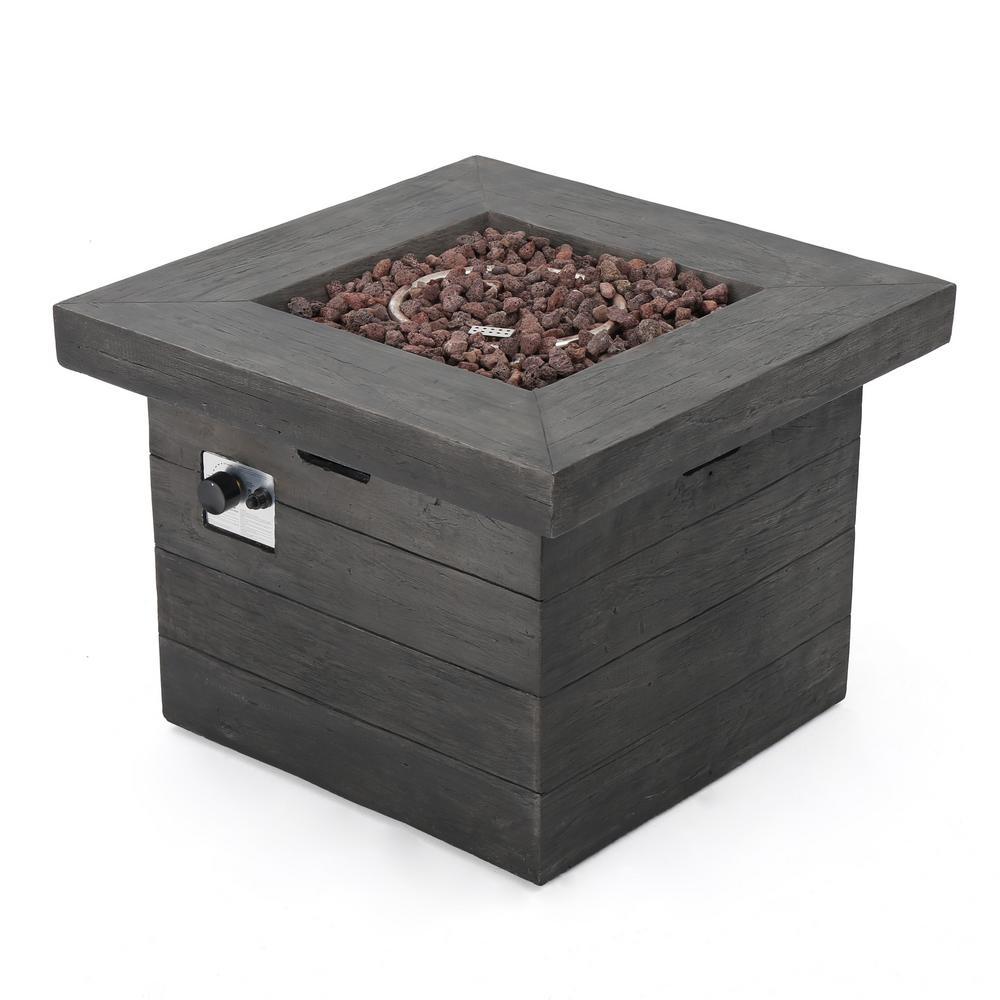 Noble House Dakota 32 in. x 24 in. Square Magnesium Oxide Gas Fire Pit in Gray