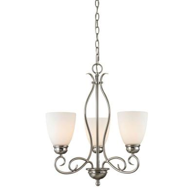 Chatham 3-Light Brushed Nickel Chandelier With White Glass Shades