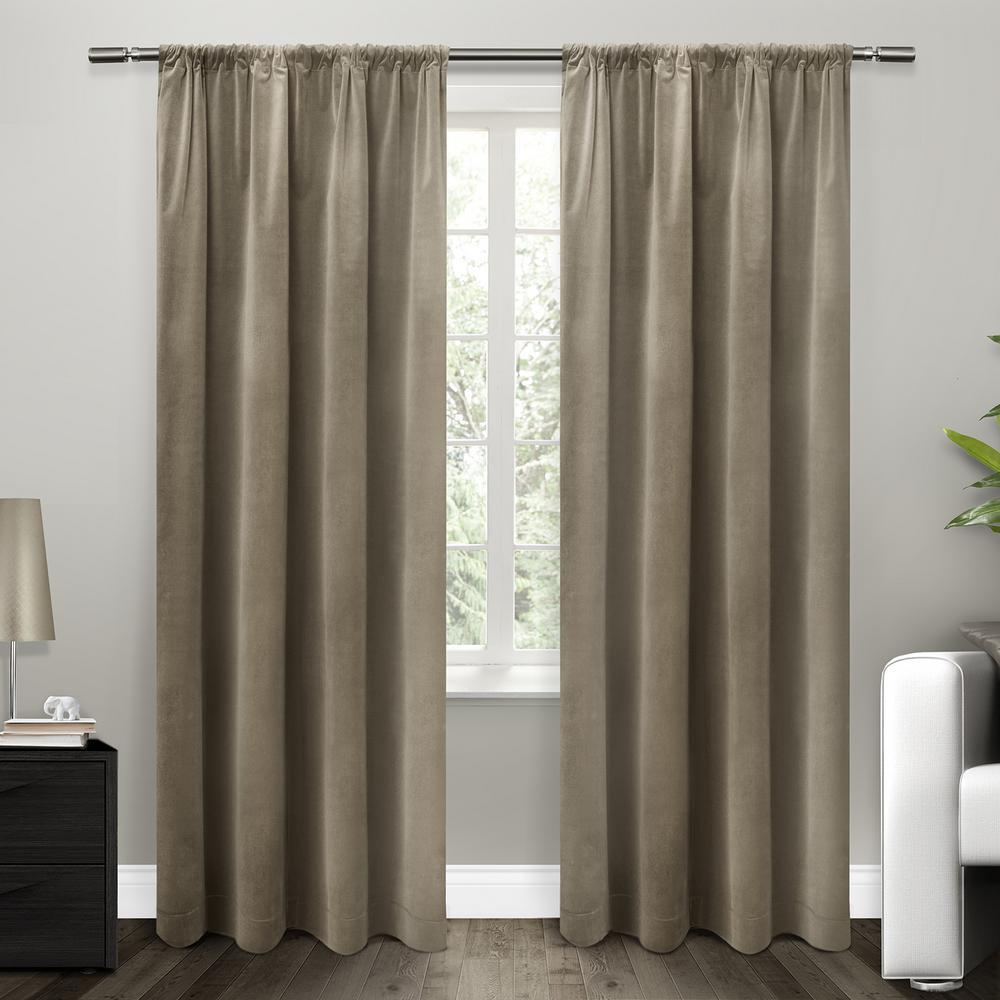Cotton Velvet Taupe Blackout Rod Pocket Top Window Curtain