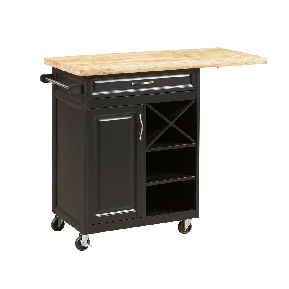 Lane 1-Drawer Laminate Kitchen Cart with Large Worktop in Black