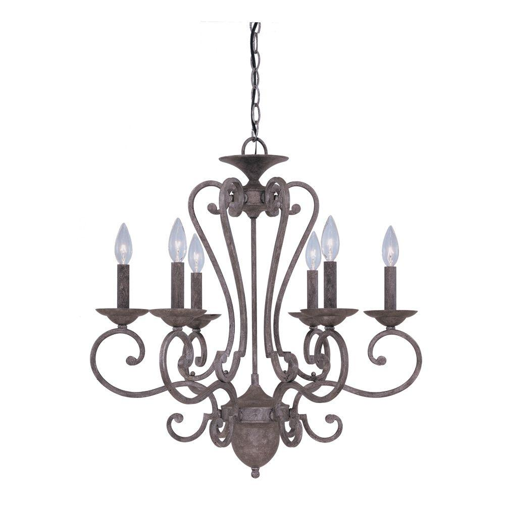 null Aged French Silver 6-Light Chandelier-DISCONTINUED