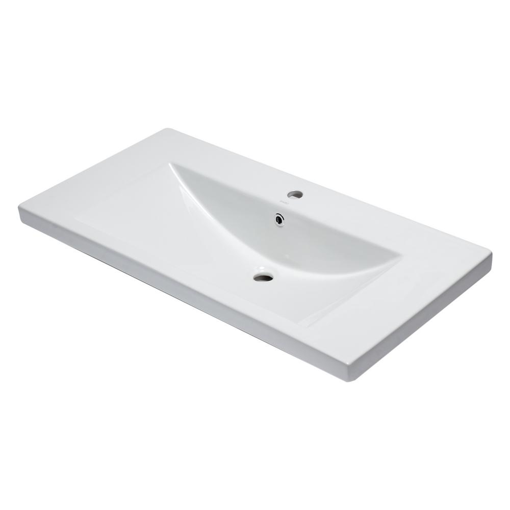 7.9 in. Drop-In Sink Basin in White