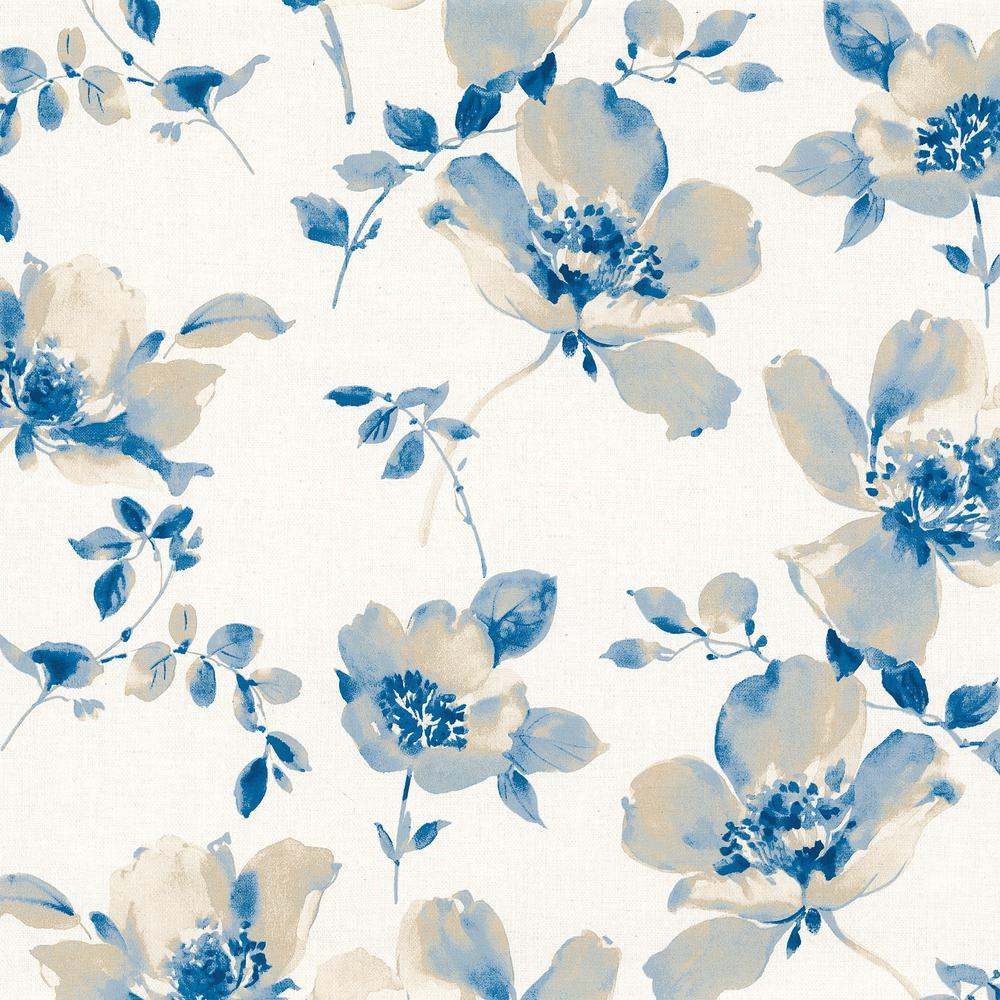 Ludor Blue Floral Wallpaper