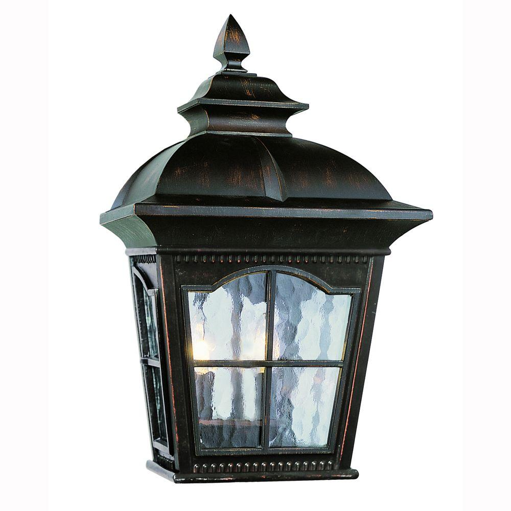 Bostonian 2 Light Antique Rust Outdoor Wall Pocket Lantern With Water Glass