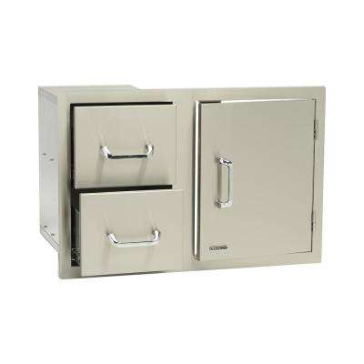 33 in. x 22 in. x 20.50 in. Built-in Door and Double Drawer Storage Combo