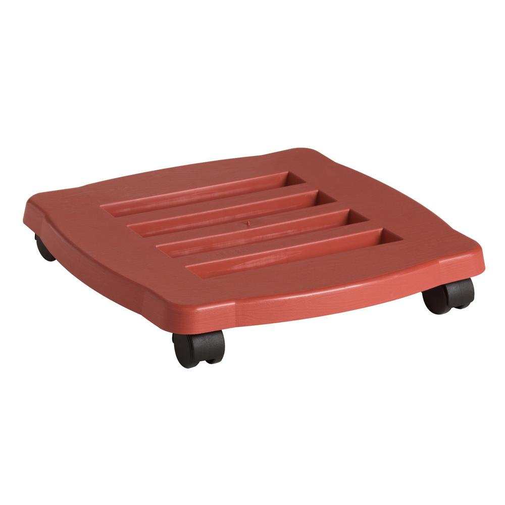 Rolling Planter Caddy 15 in. Terra Cotta (Red) Plastic Sq...