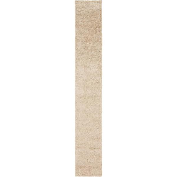 Solid Shag Taupe 16 ft. Runner Rug