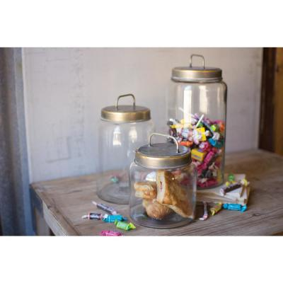 Clear Glass Jars with Metal Lids (Set of 3)