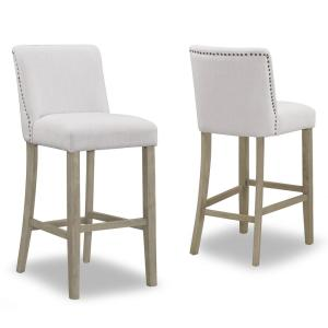 29.875 in. Aleco Beige Fabric with Metal Nail Head Accents Bar Stool (Set of 2)