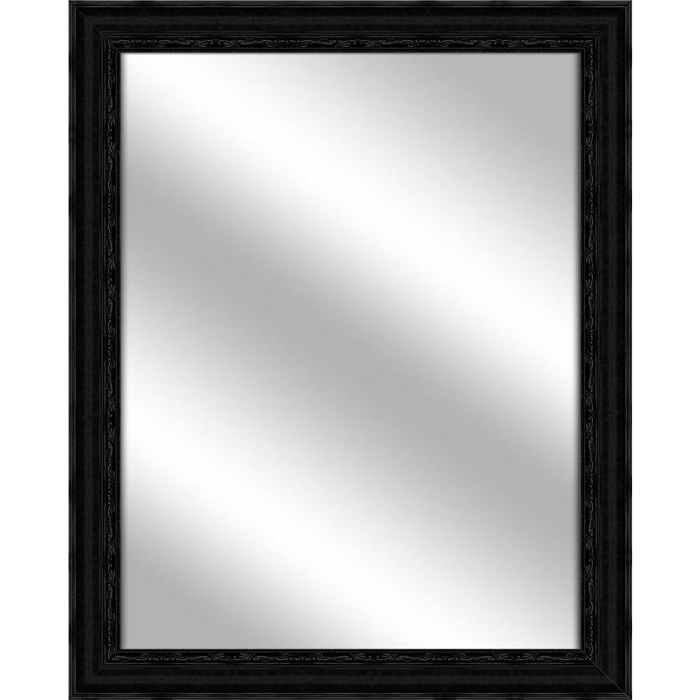 Medium Rectangle Black Art Deco Mirror (32.375 in. H x 26.375 in. W)