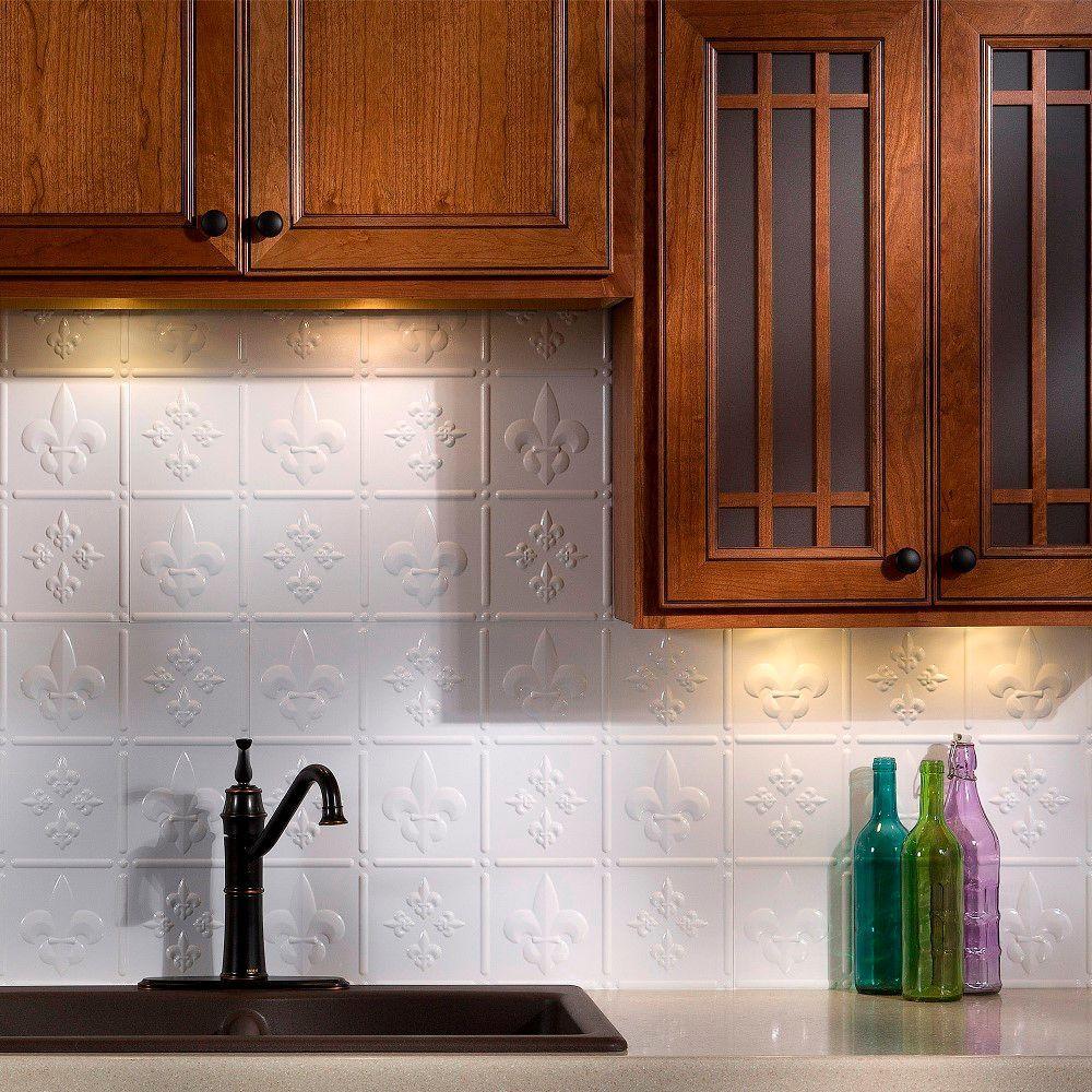 24 in. x 18 in. Fleur de Lis PVC Decorative Tile Backsplash in Gloss White