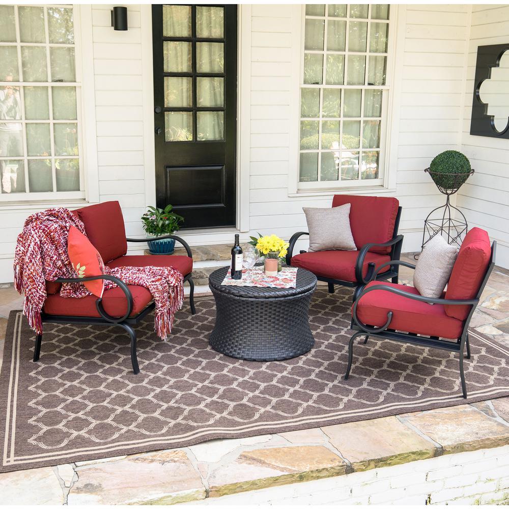 Savannah 4-Piece Wicker Patio Conversation Set with Red Cushions