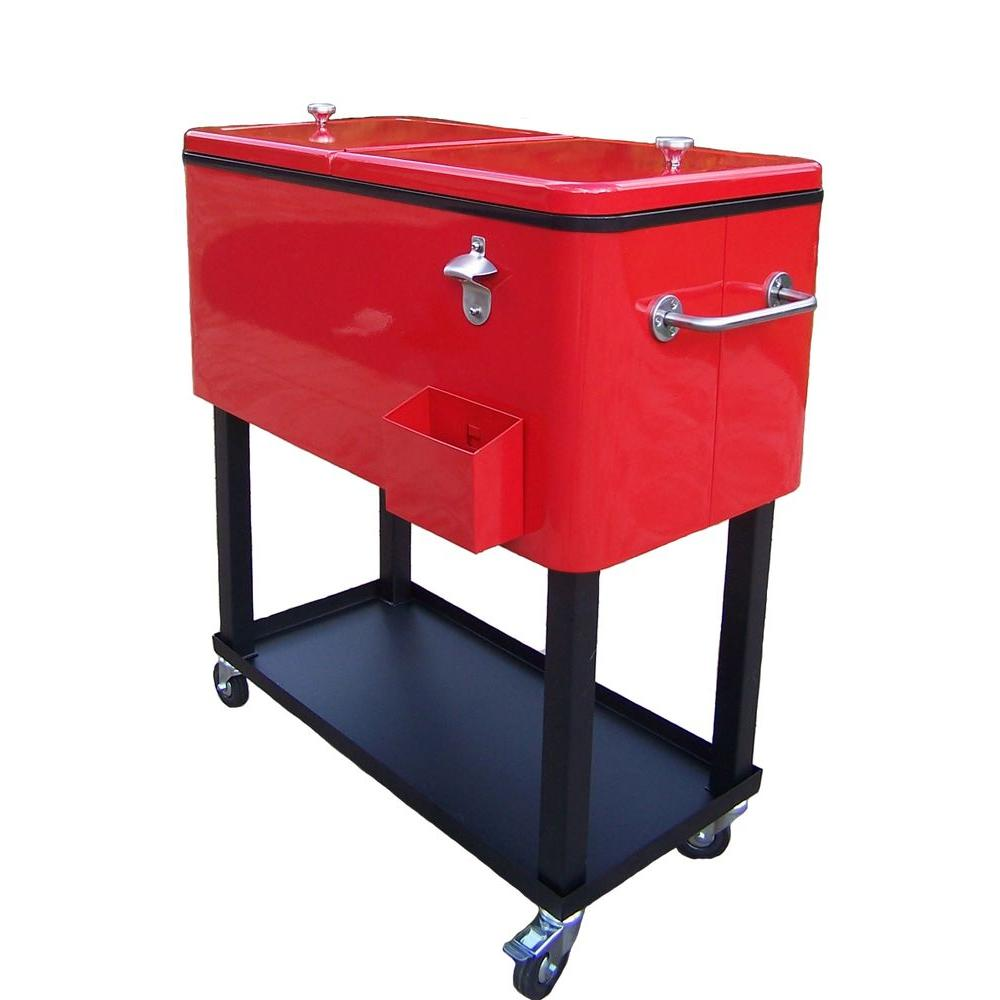 oakland living 80 qt steel red patio cooler cart - Patio Coolers