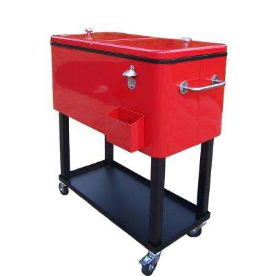 80 Qt. Steel Red Patio Cooler Cart