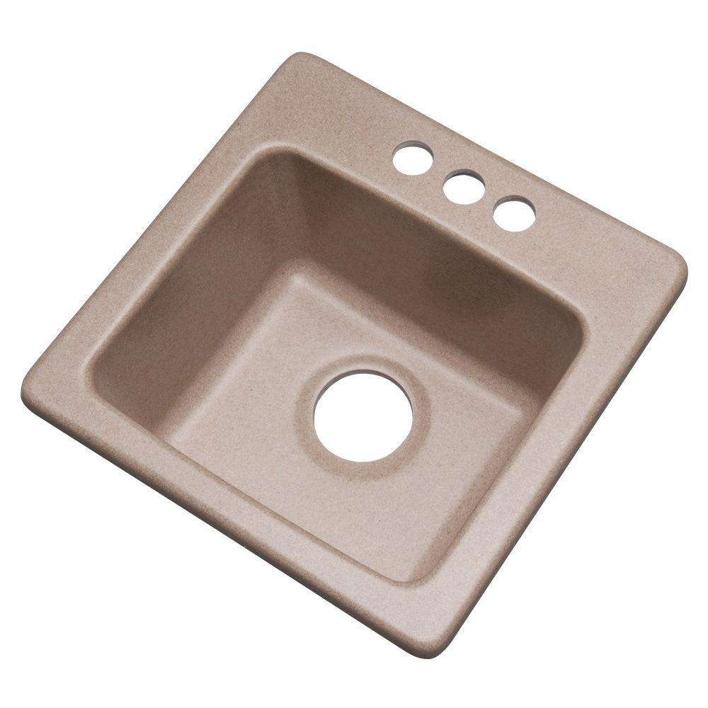 Mont Blanc Westminster Drop-in Composite Granite 16 in. 3-Hole Single Bowl Bar Sink in Desert Sand