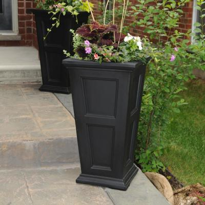Self-Watering Fairfield 16 in. Square Black Plastic Column Planter