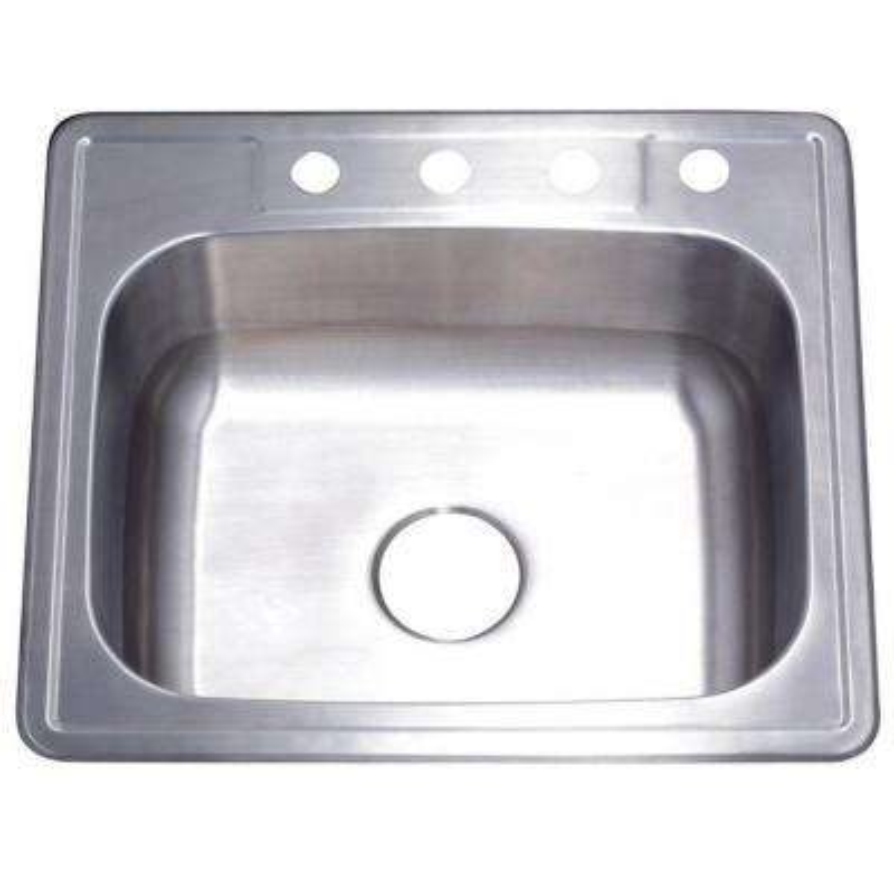 Drop-in Stainless Steel 25 in. 4-Hole Single Basin Kitchen Sink