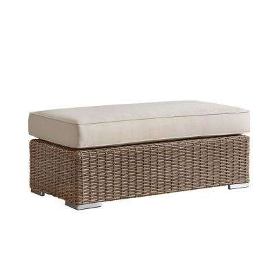 Camari Mocha Wicker Outdoor Ottoman with Beige Cushion