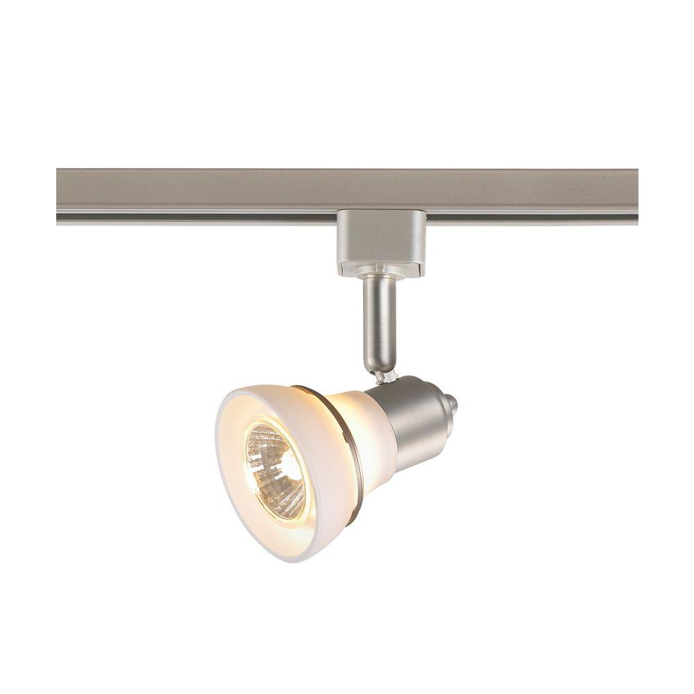1-Light White Glass Linear Track Lighting Head