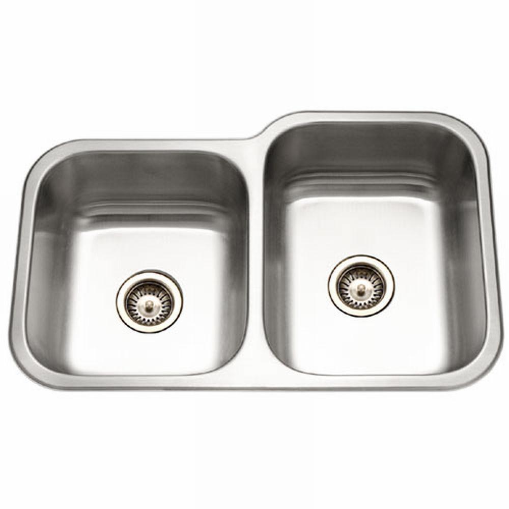 Elite Series Undermount Stainless Steel 32 in. Double Bowl Kitchen Sink