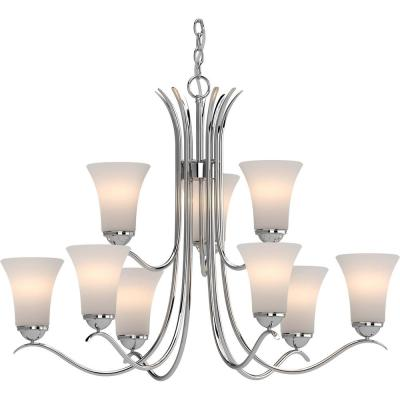 Alesia 9-Light Polished Nickel Chandelier with White Frosted Glass Shade
