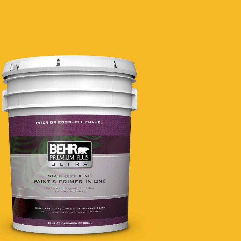 5 gal. #HDC-MD-02A Yellow Groove Eggshell Enamel Interior Paint