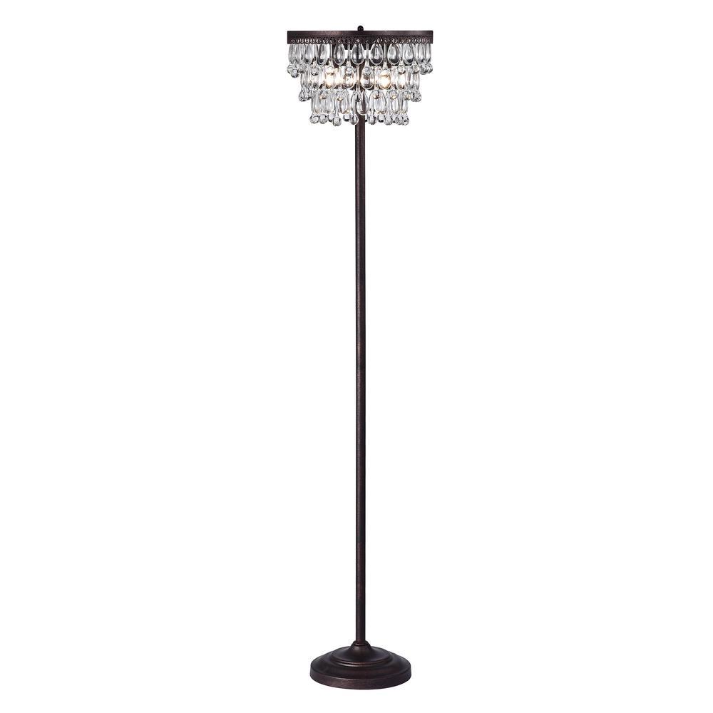 Warehouse of Tiffany Sotari 64 in. Antique Copper 3-Light Floor Lamp