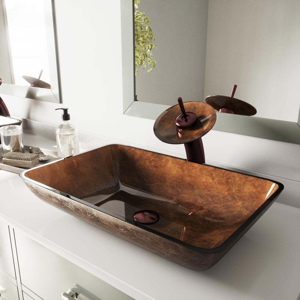 Vigo Rectangular Glass Vessel Bathroom Sink In Russet Glass With Waterfall Faucet Set In Oil Rubbed Bronze