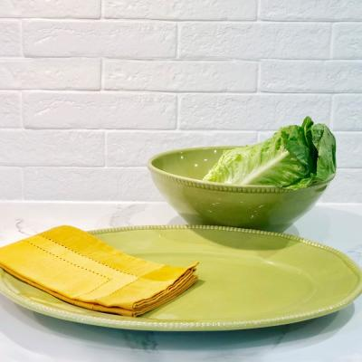 Algarve 15 in. 88 oz. Green Oval Platter and Stoneware Serving Bowl Set (2 Piece)