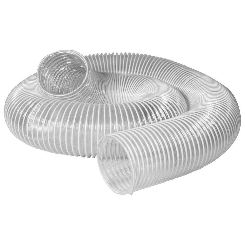 POWERTEC 4 in. x 20 ft. Flexible PVC Dust Collection Hose, Clear Color