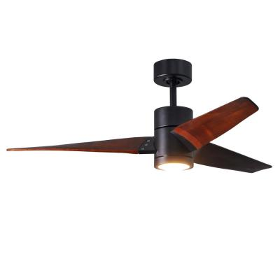Super Janet 52 in. LED Indoor/Outdoor Damp Matte Black Ceiling Fan with Light with Remote Control and Wall Control