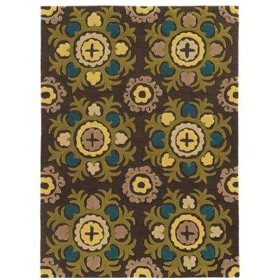 Trio Collection Chocolate and Multi 8 ft. x 10 ft. Indoor Area Rug