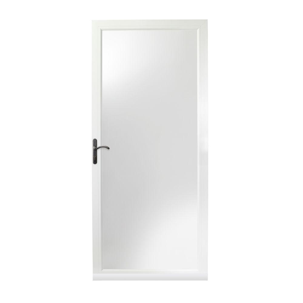 Ordinaire 36 In. X 84 In. 3000 Series White Left Hand Fullview Easy Install Aluminum Storm  Door With Oil Rubbed Bronze Hardware