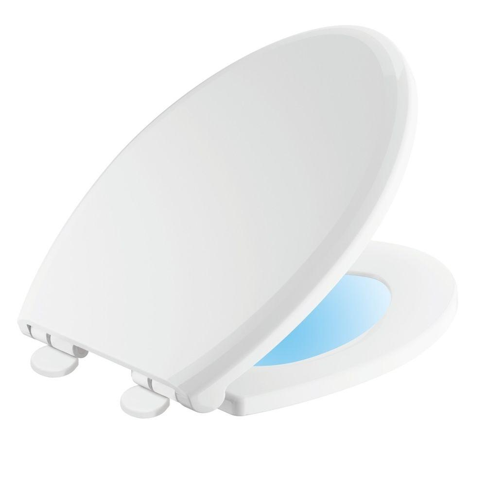 Delta Sanborne Elongated Closed Front Toilet Seat With Nightlight In
