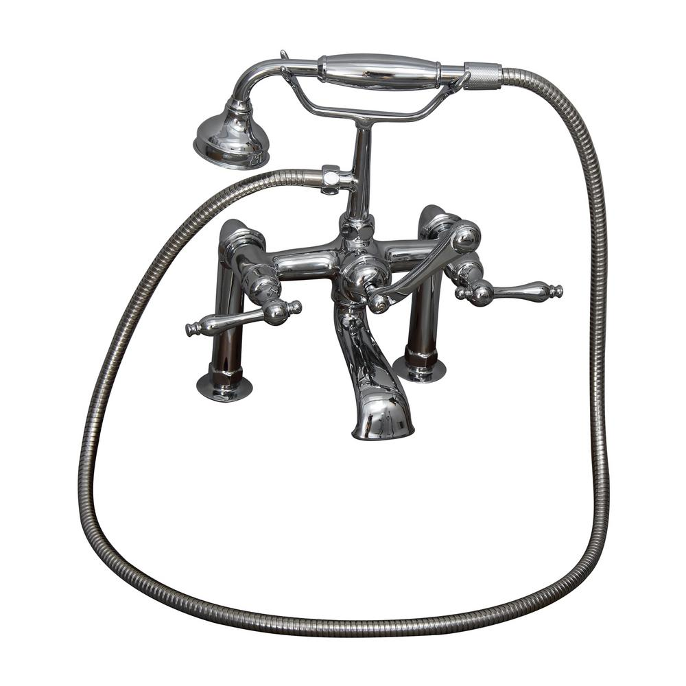 3-Handle Rim Mounted Claw Foot Tub Faucet with Elephant Spout and