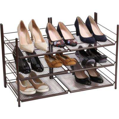 3-Tier Stackable Shoe Organizer, Bronze