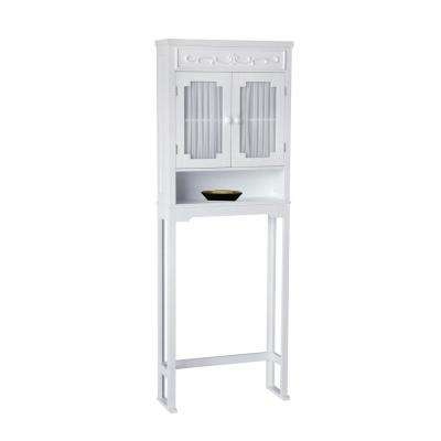 Drapery 24 in. W x 67 in. H x 7-1/2 in. D Over the Toilet Storage Cabinet in White