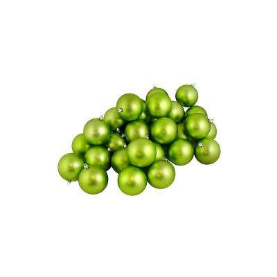 2.5 in. (60 mm) Matte Green Kiwi Shatterproof Christmas Ball Ornaments (60-Count)